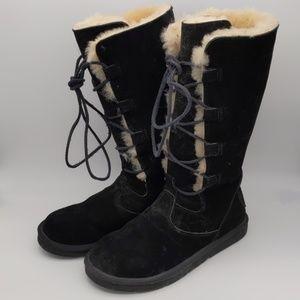 UGG Size 10 (Fits 9) Black Full Sheepskin Boots